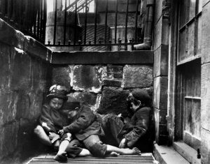 Photo by Jacob A. Riis of Children Sleeping on Mulberry Street